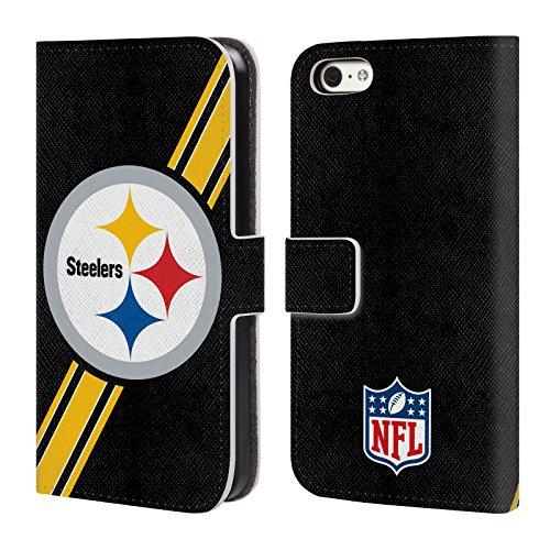 Offizielle NFL Helm Pittsburgh Steelers Logo Brieftasche Handyhülle aus Leder für Apple iPhone 6 / 6s Streifen