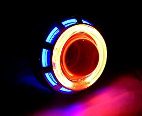PR Projector Lamp (Blue and Red) Led headlight Lens projector For Honda Dio 1 Pcs
