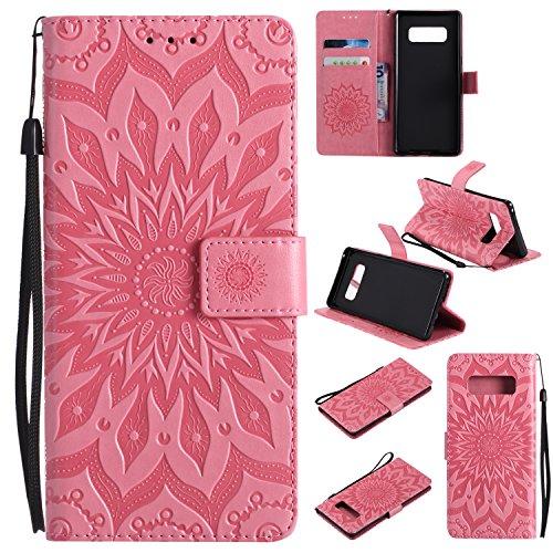 Samsung Galaxy Note 8 (2017) Hülle/Fall,Smytu Stand Hülle mit Kartenfächer und Bargeld Etui Klapphülle Magnetisch Flip Bumper Ledertasche Schutzhülle (Pink)