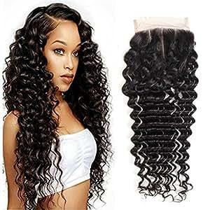 "Ms Taj Brazilian Virgin Hair Deep Wave Closure 3 Part Unprocessd Virgin Human Hair Lace Closure 4x4'' with Bleached Knots Natural color (10"" closure)"