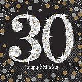 16 Servietten * SPARKLING 30. * für eine Party zum Geburtstag // Napkins dreißig thirty