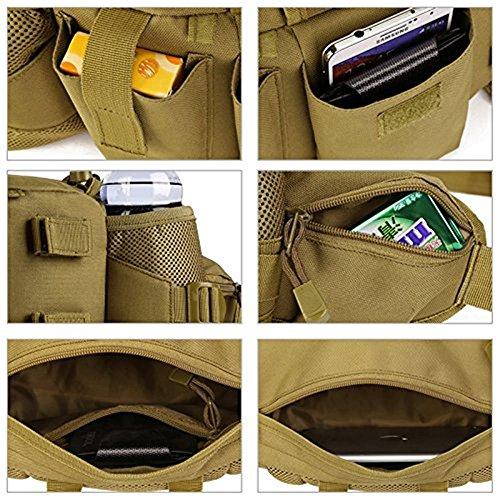 SUNVP Tactical Wasser Taille Pack Tasche mit 2 Wasser Flasche Halter Tasche Military Wasserdichte Fanny Pack Taschen Hip Bag für Outdoor Camping Wandern Trekking Jagd Brown
