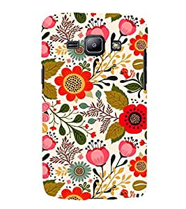 iFasho Animated Pattern colrful design flower with leaves Back Case Cover for Samsung Galaxy J1 (2016 Edition)