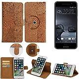 Korkhülle Wallet Case Schutzhülle für HTC One A9, Kork Case Walletcase Portemonnaie Schutz Hülle Flip cover Smartphone Tasche - K-S-Trade(TM)
