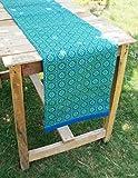 VLiving Blau Bedruckt Läufer, geometrischen, Tile Print, Retro, Baumwolle Tischläufer, Decor, Größe erhältlich, 14x72