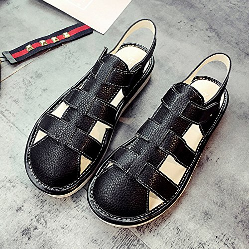 fa a estate tempo da donna fondo Baotou sandali piatto estate libero sandali da Black Lgk scarpe donna dpUn4xdq