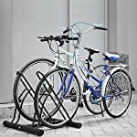 FEMOR Floor Mount Bicycle Rack for 2 Bikes Stand Double Bicycle Holder Storage Rack Garage Outdoors (Type B)
