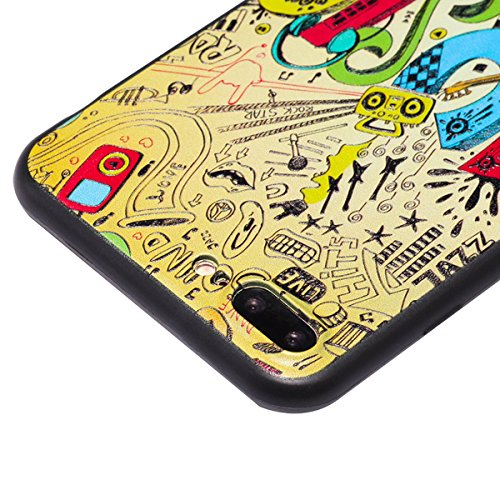 Custodia iPhone 7 Plus, ISAKEN Cover per Apple iPhone 7 Plus[TPU Shock-Absorption] - Colorate Sollievo Pattern Design Soft TPU sottile Custodia Case Nero Back Ultra Sottile TPU Morbido Protettiva Cass MUSIC colorate