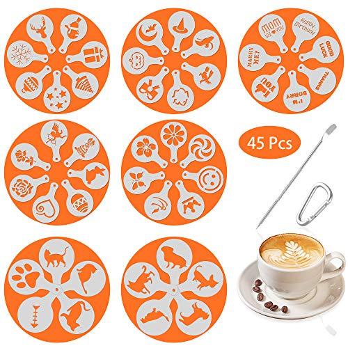 SOSMAR 45 Muster Cappuccino Schablonen Kaffee Kuchen Stencil in 7 Motive - Kurze Wünsche Sprüche, Liebe, Halloween, Weihnachten, Ostern, Hunde, Katze Dekoration Art Vorlage