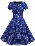 Dresstells Damen Vintage 50er Rockabilly Kurzarm Swing Kleider Partykleid Navy Small White Dot M