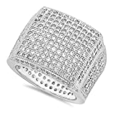 Men's rhodiniert Iced Out Micro-Pavé-Fassung, Zirkonia, eckig, Ring