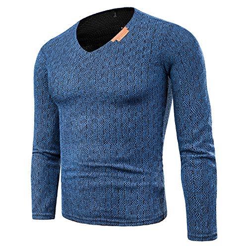 SANFASHION Pullover Herren Lässige Top Herbstmode Sweatshirts Einfarbig Langarm O-Neck Shirt Top...