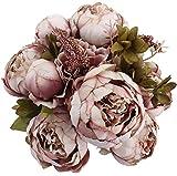 Turelifes Weinlese-künstliche Rosen-Pfingstrose-Silk Blumen-Blumenstrauß für Hochzeits-Hauptdekoration (Bohnenpaste)