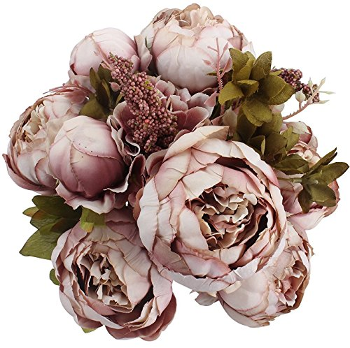 Turelifes, bouquet vintage di fiori artificiali rosa in seta con peonie, per matrimonio o per decorare la casa bean paste