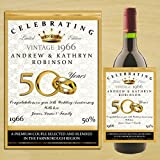 Personalised WINE / CHAMPAGNE BOTTLE LABEL ~ Golden 50th Wedding Anniversary Gift Idea N14