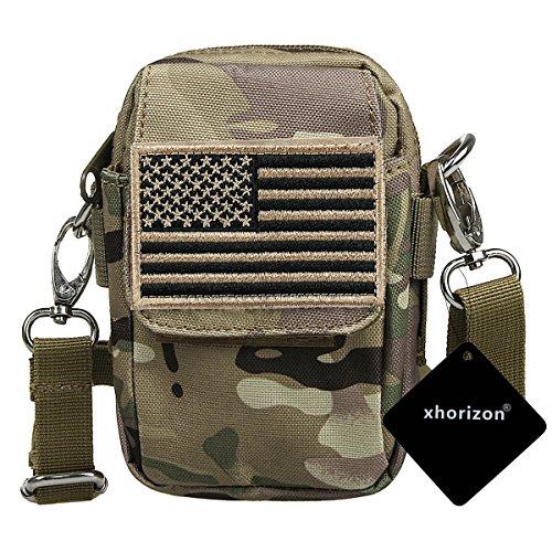 xhorizon TM taktischer Militaer-/ Nothilfe-/ medizinischer Sack (Molle), wasserdichte taktische EDC Tasche(Molle) (Huefte/ Gurt) # 1 mit USA-Flagge Magic Tape