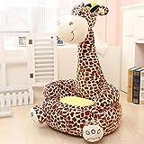 Bakaji Divano Poltroncina Divanetto Bambini Maxi Peluche forma Giraffa Sedia con seduta Imbottita Arredo Stanzetta Cameretta Bimbi, Poltrona Soffice Alta Qualità Marrone