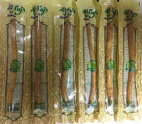 Al-Fajr Miswak Siwak (Arak) 100% veganer Natur Zahnputzholz - Holzzahnbürste, reinigt die Zähne schonend und gründlich, mehrere Sparsets zur Auswahl (6 Stück)