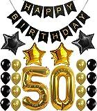 Kit decorazioni festa di compleanno dei 50 anni, striscione Happy Birthday , palloncini con numero 50 dorato, palloncini in lattice , Kit perfetto