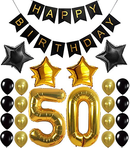 "Dekoration Set, Happy Birthday Banner, ""50"" Golden Ballon, Latex- und Sternfolie-Ballon, Perfekt für die Vorbereitung der 50. Geburtstagparty (Dekorationen Für Geburtstag)"