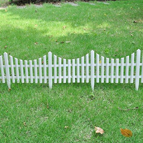 Festnight 17er Set Gartenzaun Beeteinfassung Beetumrandung Dekorativer Zaun Gesamtlänge 10 Meter Weiß