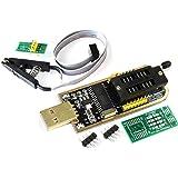 TECNOIOT Programador USB Flash BIOS EEPROM Serie CH341A 24 25 con Software y Controlador + módulo Adaptador de Clip SOIC8 SOP