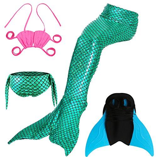 Das beste Mädchen Cosplay Kostüm Badebekleidung Süße Meerjungfrau Shell Badeanzug Meerjungfrauenschwanz zum Schwimmen mit Verbesserten Flosse 4pcs Bikini Sets - Tolle ()