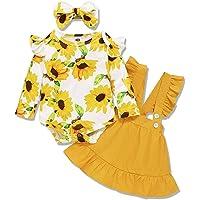 Amissz 3 PCs Bébé Fille Ensemble de Vêtement Robe Tenue Costume Mignon Barboteuse T-Shirt à Floral Manche Longue + Jupe…