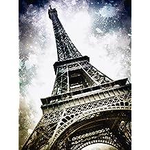 Artland Póster De Impresión o Lienzo–Cuadro de Imagen listo Madera Contrachapada en bastidor Melanie Viola de arte moderno Paris Torre Eiffel Arquitectura decorativa Edificios Monumentos de fotografía gris