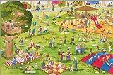 Poster 60 x 40 cm: Lachen und Lernen Wimmelbild: Auf dem Spielplatz von Katherina Lindenblatt - hochwertiger Kunstdruck, Kunstposter
