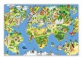 XXL Poster 100 x 70 cm (S-822) Wimmelbildposter Kinderposter schöne Weltkarte Landkarte mit Sehenswürdigkeiten und vielem zu entdecken