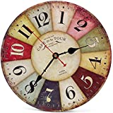 Asvert Reloj Madera Vintage de Pared de Mecanismo Silencioso (Díametro 30cm)