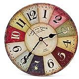 Asvert Orologio da Parete di Legno Silenzioso Stile Vintage Decorazione a Muro