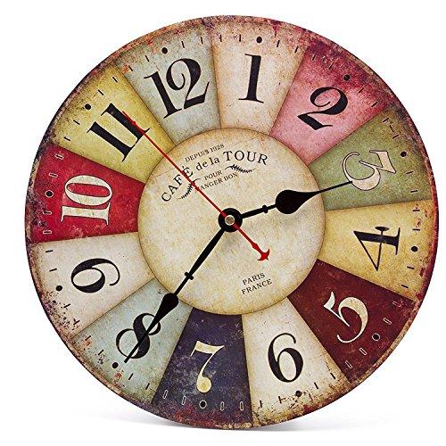 Asvert orologio da parete di legno silenzioso stile for Orologi da parete vintage