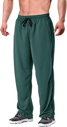 EKLENTSON Men's Tracksuit Bottoms Mesh Jogging Sweat Pants with Zipper Pockets Open Bottom Athletic Pants Loose Fit