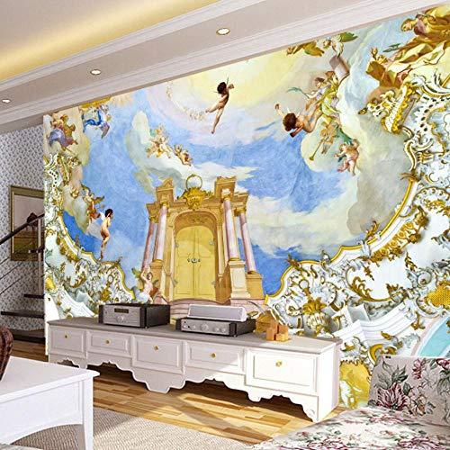 Wandmalerei Europäischen Stil Engel Hintergrund Dekorative Wandbilder Für Wohnzimmer Stoff Tapete Malerei-280X200CM -