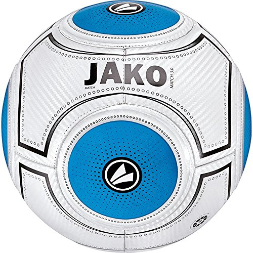JAKO Ball Match 3.0-14 Panel Handgenäht, Weiß Blau/Schwarz, 5