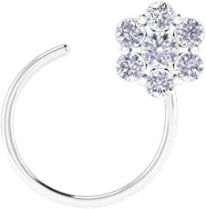 Hansika Jewels 0.07 Ct D/VVS1 Diamond 14K White Gold Over Cluster Flower Nose Pin Body Piercing Jewelry