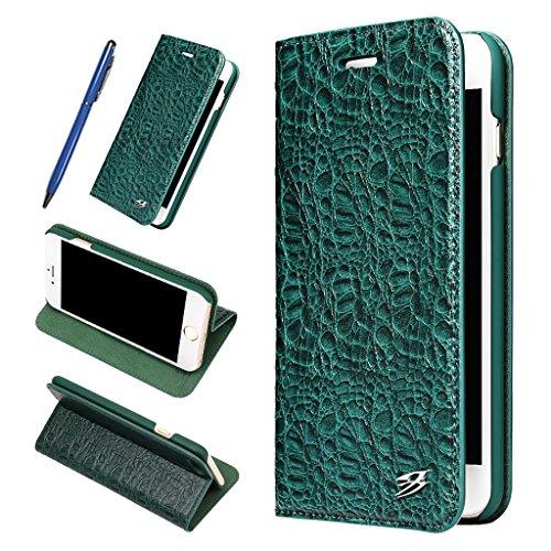 iPhone 7 Echtem Leder Hülle,Careynoce Luxus Handgefertigt Echtem Leder Brieftasche Magnetischen Flip Schutzhülle für Apple iPhone 7(4.7 Zoll) -- Kupfer muster (Braun) M04