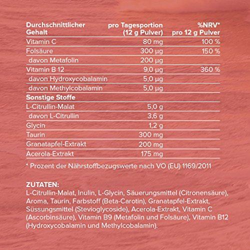 Citrullin Plus, Pre-Workout Pump Supplement, L-Citrullin-Malat, Taurin, Vitamine, Metafolin & Pflanzen-Extrakte, nur mit Stevia gesüßt, 360 g