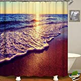 "Decdeal Shower Curtain Seaside Scenery Printed Blackout Curtains Waterproof Mildew-Proof Bathroom Curtain 71""x71"""