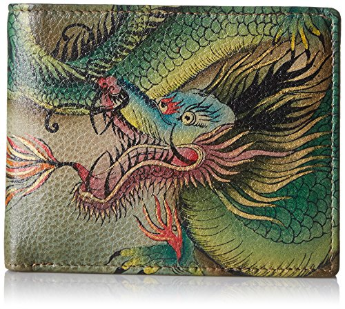 Anuschka Anuschka3002-HDR Handpainted Leather Rfid Blocking Two Fold Men's Wallet,hidden Dragon Herren, (Hidden Dragon), Einheitsgröße - Fold Wallet