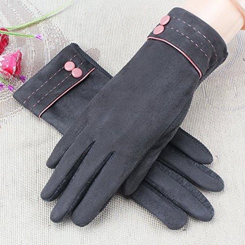 HOMEE Damen Baumwollhandschuhe Winter und Winter Touchscreen rutschfeste thermische Handschuhe,Ash Shuangkou