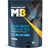 MuscleBlaze Raw Whey Isolate 90% | Protein 27g | BCAA 5.96g | Glutamic acid 4.7g Per Serving (Unflavored, 1 kg / 2.2 lb, 33 S