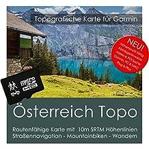 Austria Garmin tarjeta Topo 4GB MicroSD. Mapa Topográfico de GPS Tiempo Libre para Bicicleta Senderismo Excursiones Senderismo Geocaching & Outdoor. Dispositivos de Navegación, PC & Mac