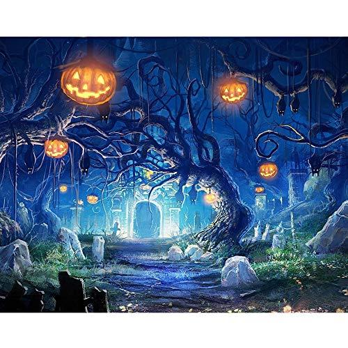 Beginfu 5D Halloween Nacht Moonlight Stickerei Malerei Strass DIY Diamant Malerei Kreuzstich Diamanten Stickerei Kits Diamant Mosaik Wandaufkleber für Haus Wohnzimmer Schlafzimmer Büro