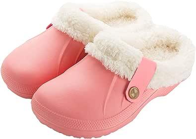 ChayChax Donna Pantofole Invernali Uomo Zoccoli e Sabot Pelliccia Ciabatte da casa Pantofola Impermeabile Scarpe da Giardino Inverno All'aperto/Interno