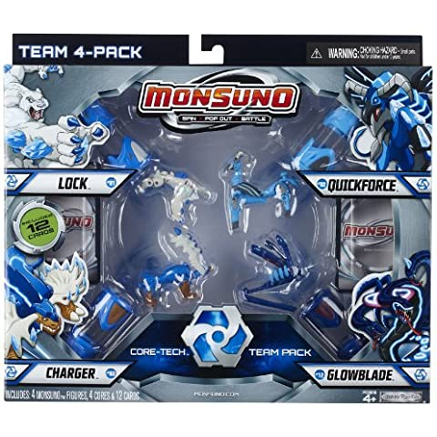 Monsuno Serie 1 - Combat Pack con Charger #03, Glowblade #12, Lock #01, Quickforce #02, 4 Cores y 12 Cartas