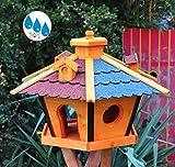 Vogelhaus BTV wetterfest, mit Silo / Futtersilo für Winterfütterung -Holz Nistkästen & Vogelhäuser- aus Holz rot + BLAU BR45r-bEOS Vogel Futterhaus