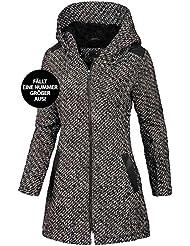 Eight2Nine Damen Winter Mantel mit großer Kapuze, warmes Fleecefutter 2 pockets by Sublevel, schwarz weiß